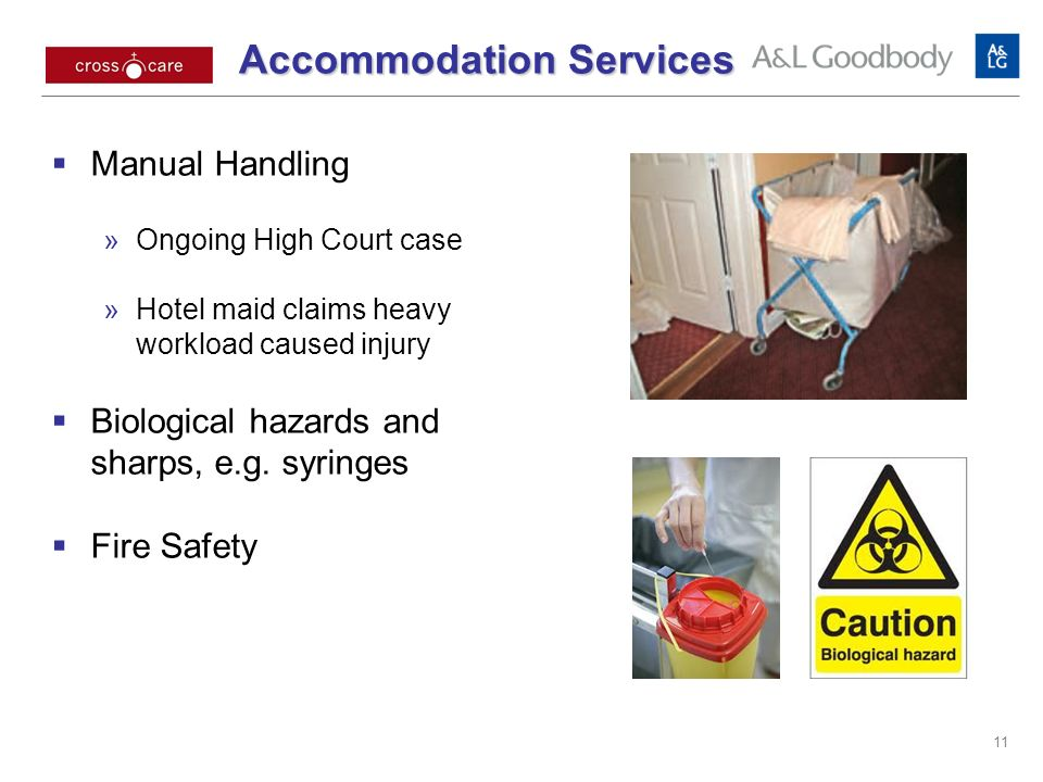 Accommodation Services Accommodation Services Manual Handling Ongoing High Court case Hotel maid claims heavy workload caused injury Biological hazards and sharps, e.g.