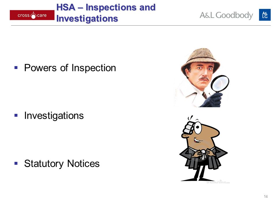 14 Powers of Inspection Investigations Statutory Notices HSA – Inspections and Investigations