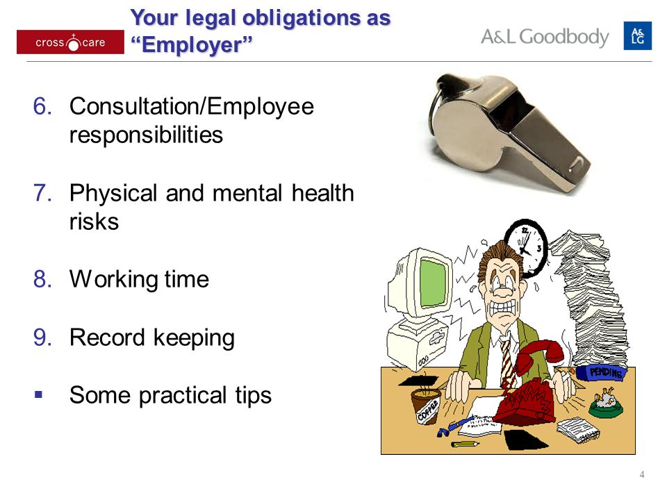 4 Consultation/Employee responsibilities Physical and mental health risks Working time Record keeping Some practical tips Your legal obligations as Employer