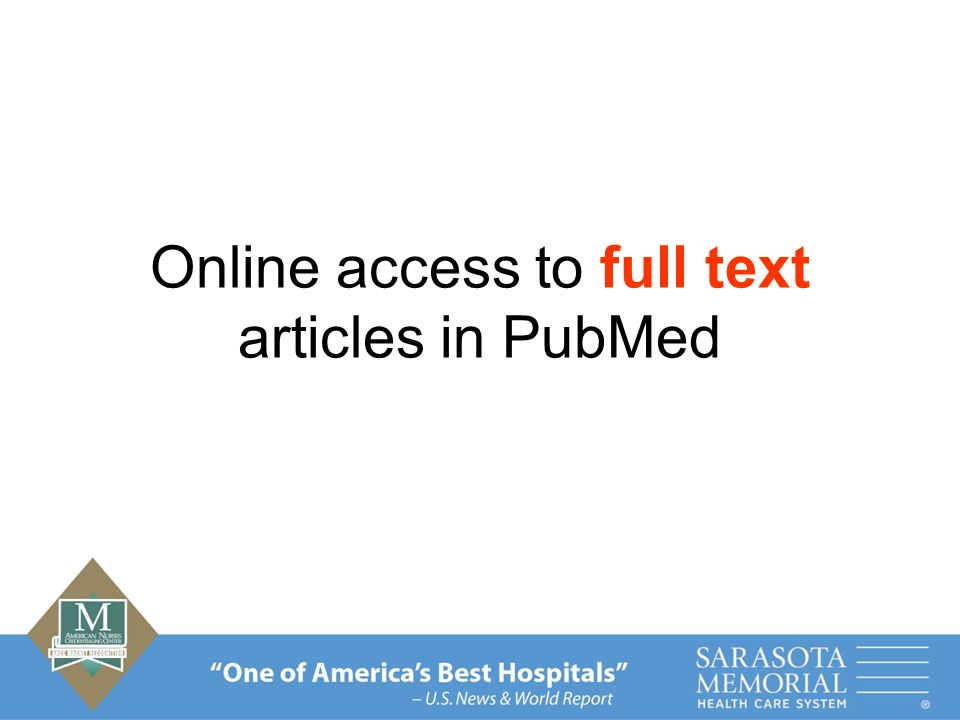 Online access to full text articles in PubMed