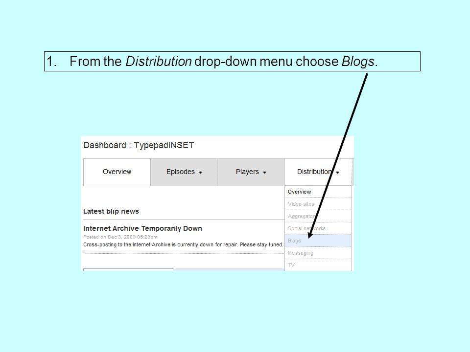 1.From the Distribution drop-down menu choose Blogs.