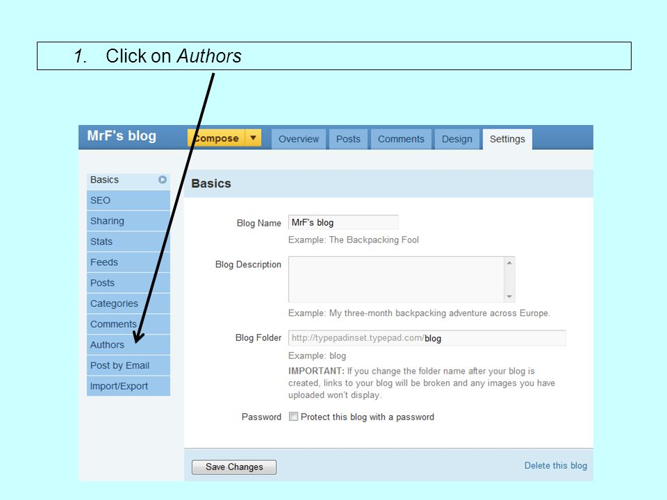 1.Click on Authors