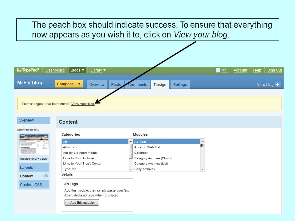The peach box should indicate success.