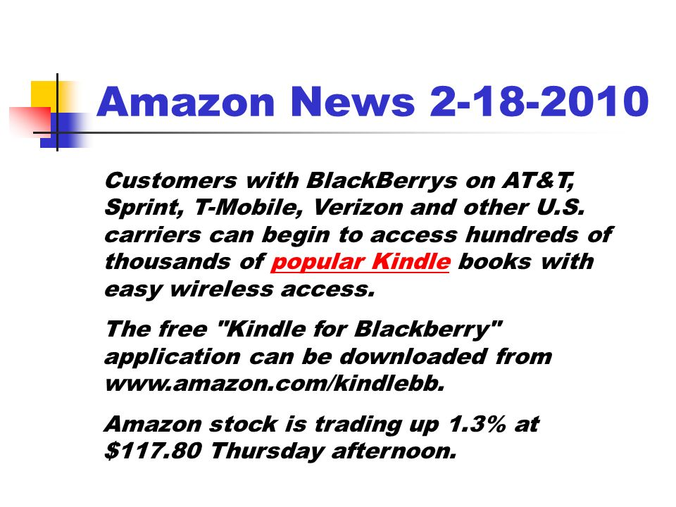 Amazon News Customers with BlackBerrys on AT&T, Sprint, T-Mobile, Verizon and other U.S.