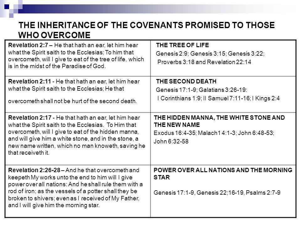 THE INHERITANCE OF THE COVENANTS PROMISED TO THOSE WHO OVERCOME Revelation 2:7 – He that hath an ear, let him hear what the Spirit saith to the Ecclesias; To him that overcometh, will I give to eat of the tree of life, which is in the midst of the Paradise of God.