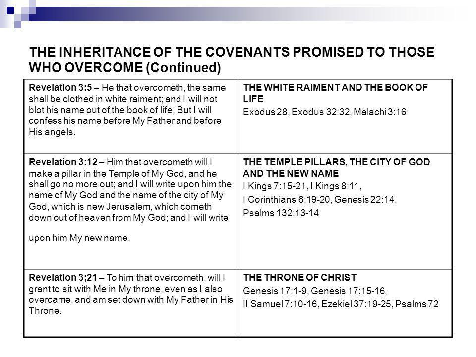 THE INHERITANCE OF THE COVENANTS PROMISED TO THOSE WHO OVERCOME (Continued) Revelation 3:5 – He that overcometh, the same shall be clothed in white raiment; and I will not blot his name out of the book of life, But I will confess his name before My Father and before His angels.