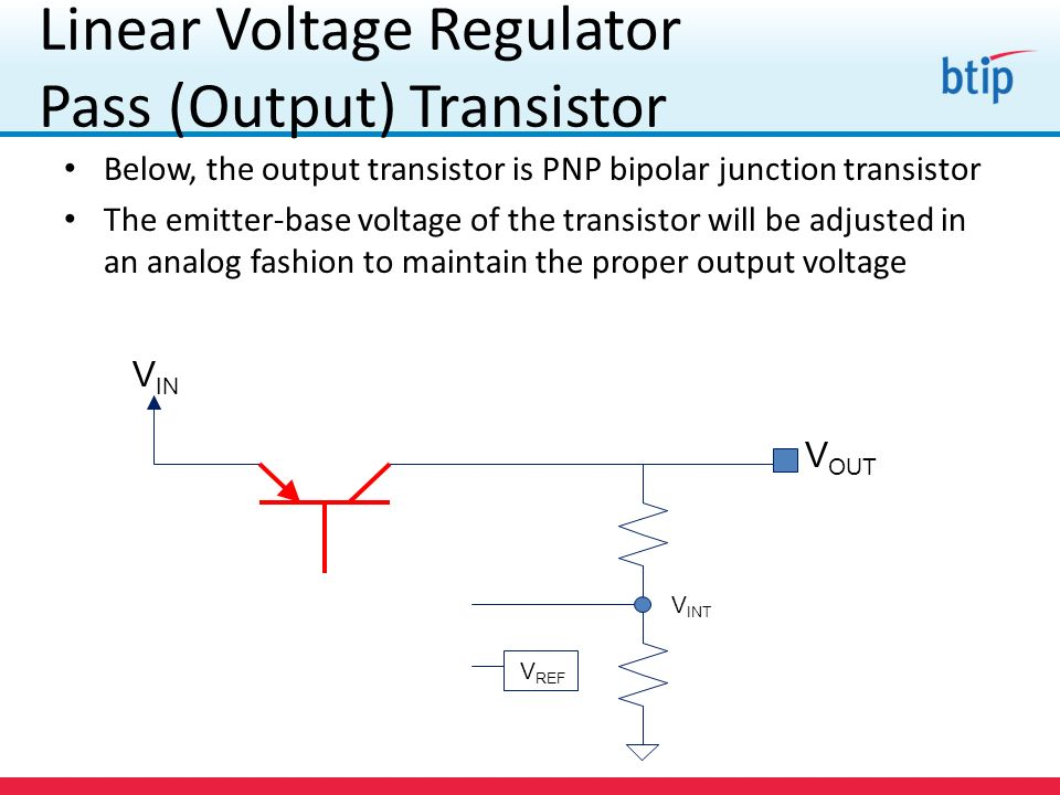 Linear Voltage Regulator Pass (Output) Transistor Below, the output transistor is PNP bipolar junction transistor The emitter-base voltage of the transistor will be adjusted in an analog fashion to maintain the proper output voltage V IN V OUT V INT V REF