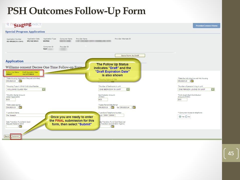 PSH Outcomes Follow-Up Form 45