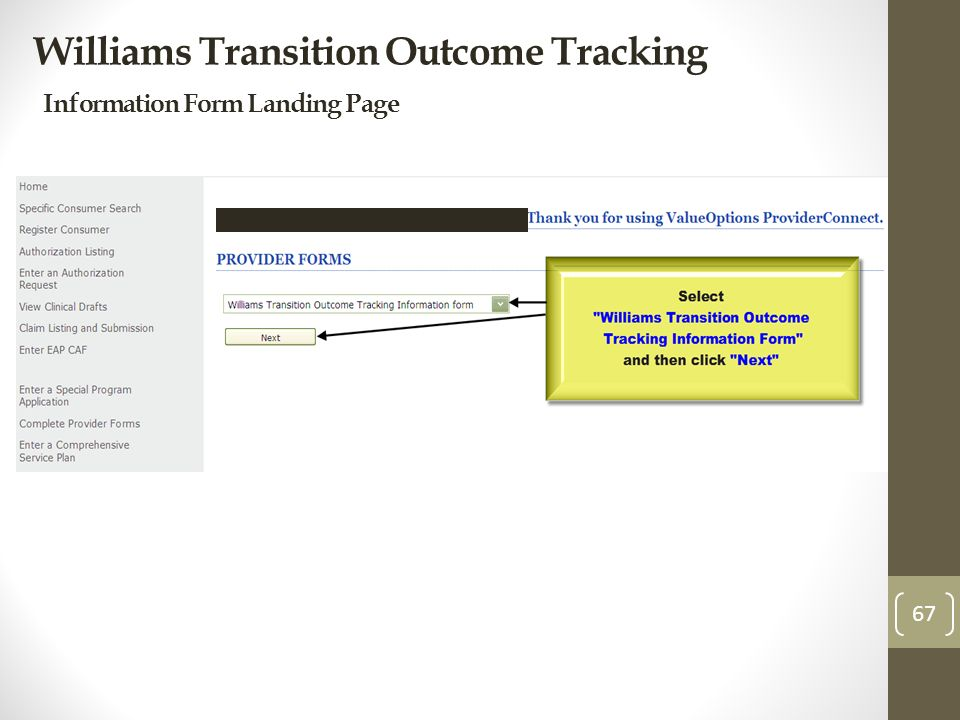 Williams Transition Outcome Tracking Information Form Landing Page 67