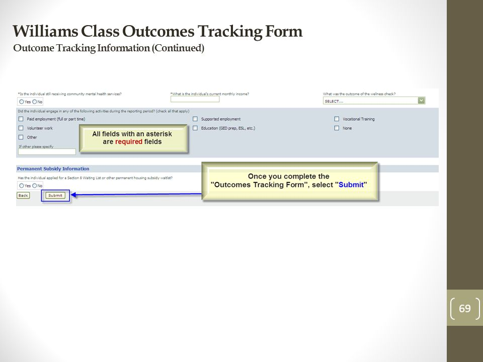 Williams Class Outcomes Tracking Form Outcome Tracking Information (Continued) 69