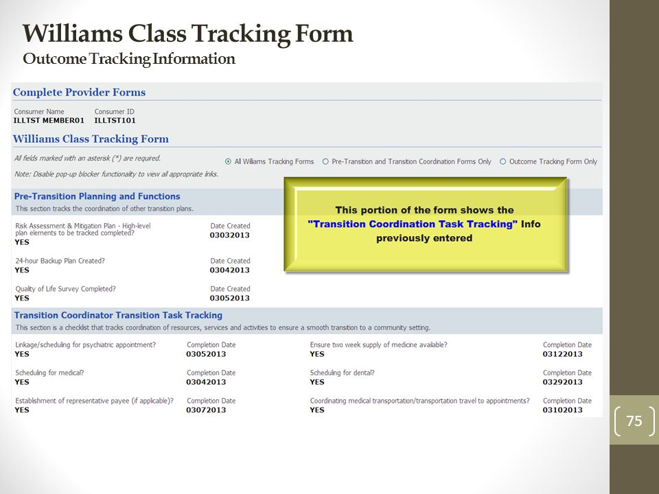 Williams Class Tracking Form Outcome Tracking Information 75