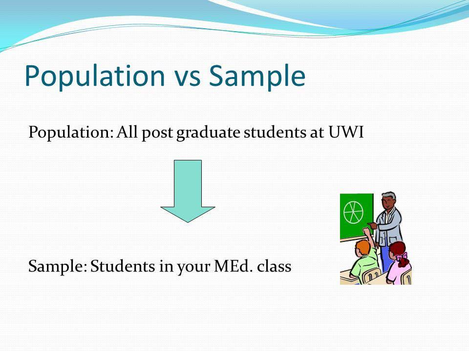 Population vs Sample Population: All post graduate students at UWI Sample: Students in your MEd.