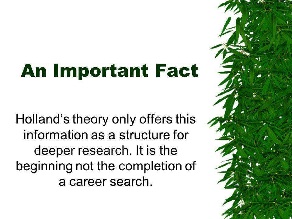 An Important Fact Hollands theory only offers this information as a structure for deeper research.