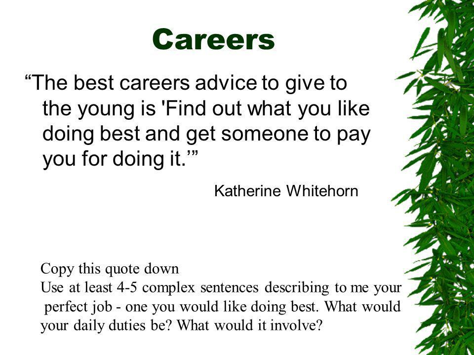 Careers The best careers advice to give to the young is Find out what you like doing best and get someone to pay you for doing it.