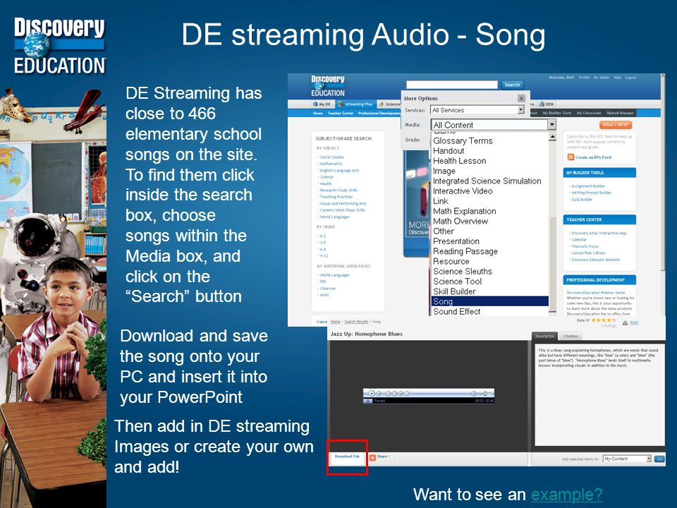 DE streaming Audio - Song DE Streaming has close to 466 elementary school songs on the site.