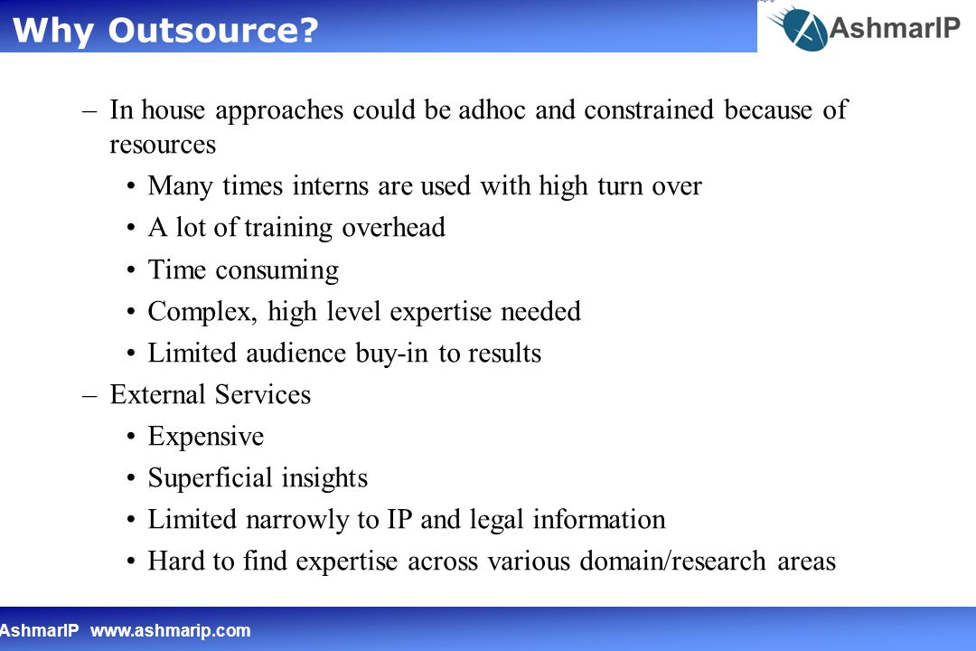 AshmarIP   –In house approaches could be adhoc and constrained because of resources Many times interns are used with high turn over A lot of training overhead Time consuming Complex, high level expertise needed Limited audience buy-in to results –External Services Expensive Superficial insights Limited narrowly to IP and legal information Hard to find expertise across various domain/research areas Why Outsource