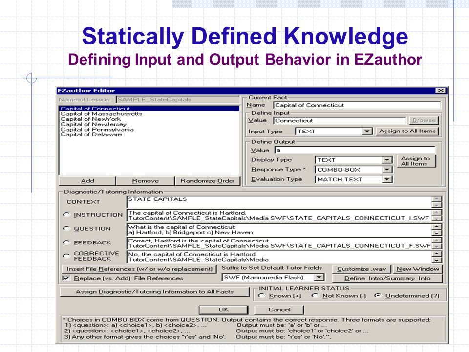 Statically Defined Knowledge Defining Input and Output Behavior in EZauthor