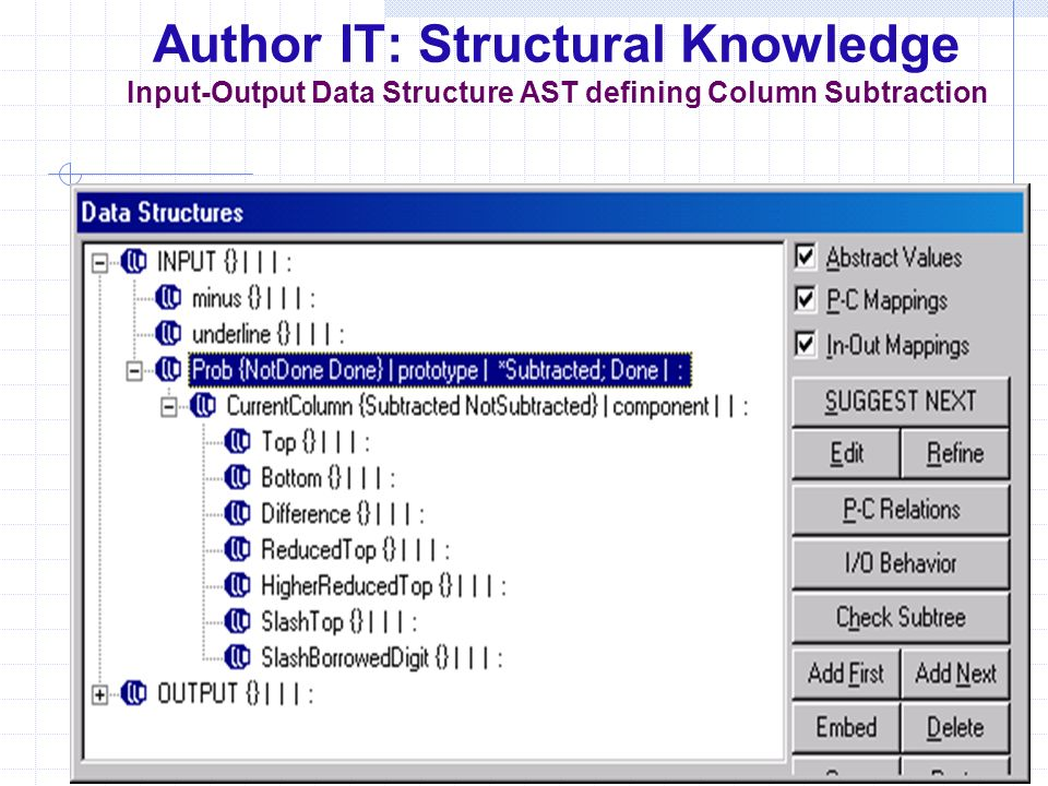 Author IT: Structural Knowledge Input-Output Data Structure AST defining Column Subtraction