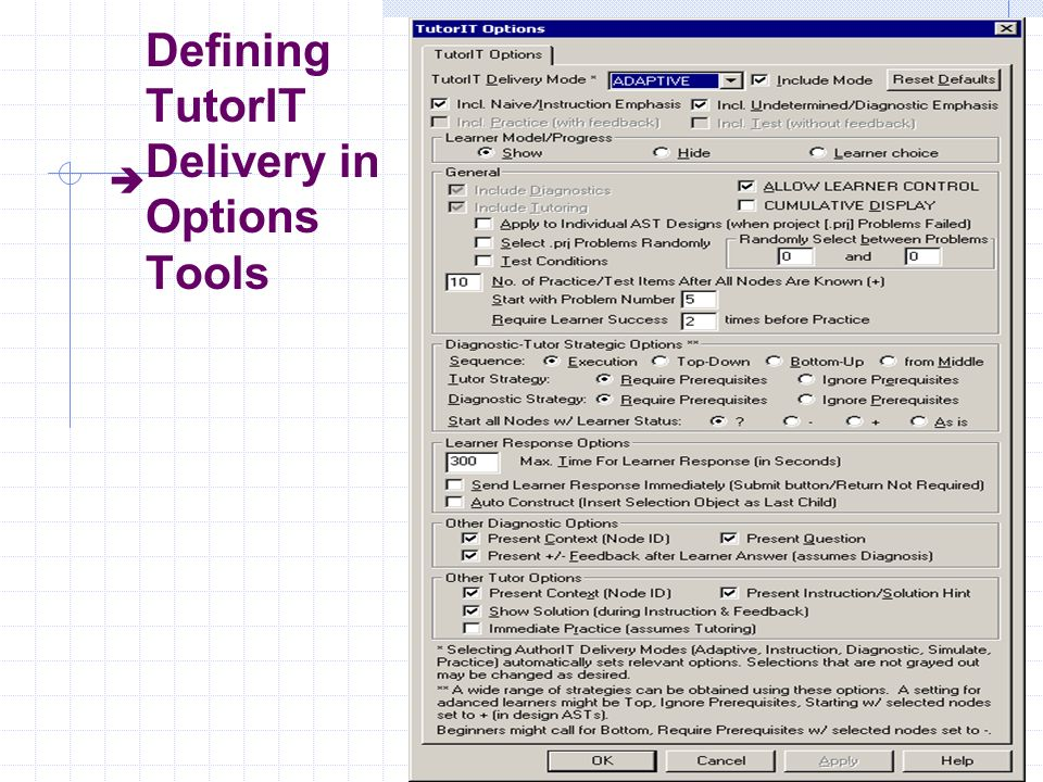 Author IT Defining TutorIT Delivery in Options Tools