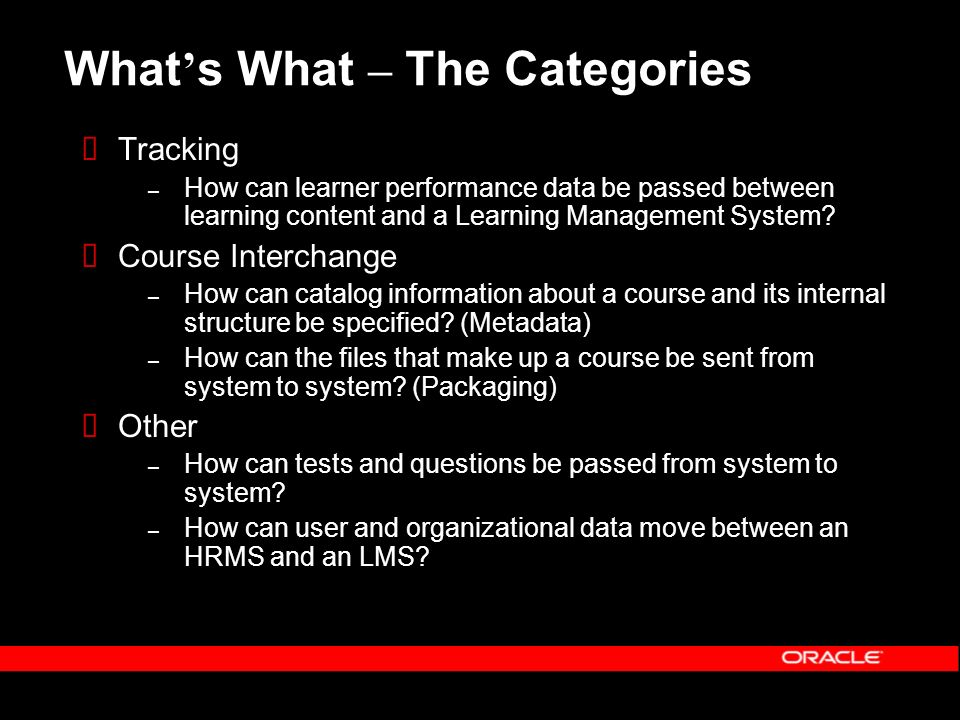 What s What – The Categories Tracking – How can learner performance data be passed between learning content and a Learning Management System.