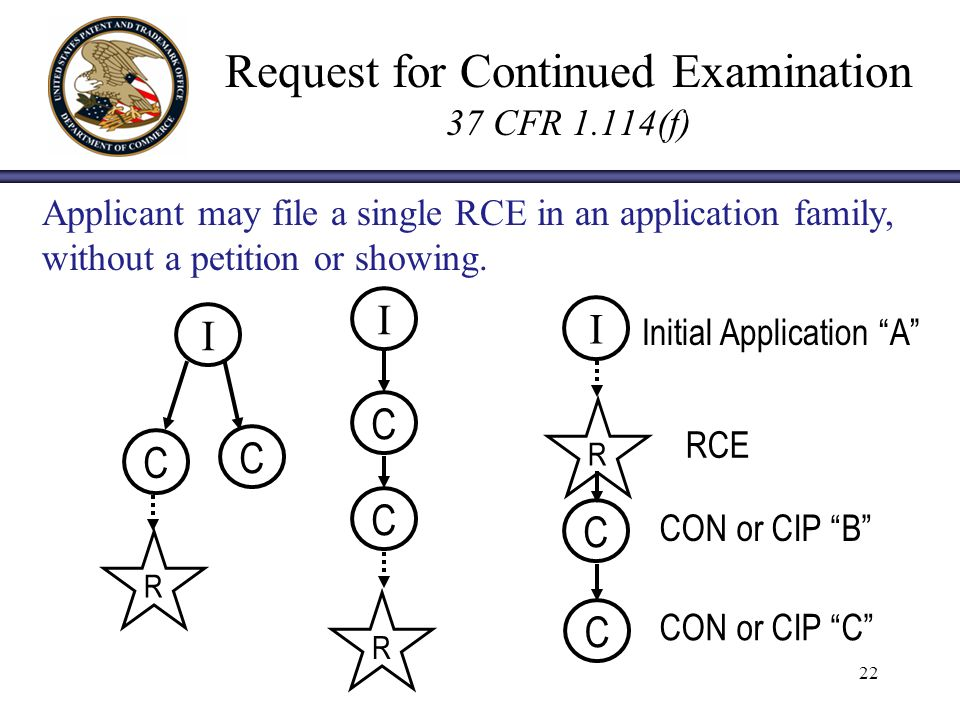 22 Request for Continued Examination 37 CFR 1.114(f) I C I C C C I C C R R R Initial Application A RCE CON or CIP B CON or CIP C Applicant may file a single RCE in an application family, without a petition or showing.