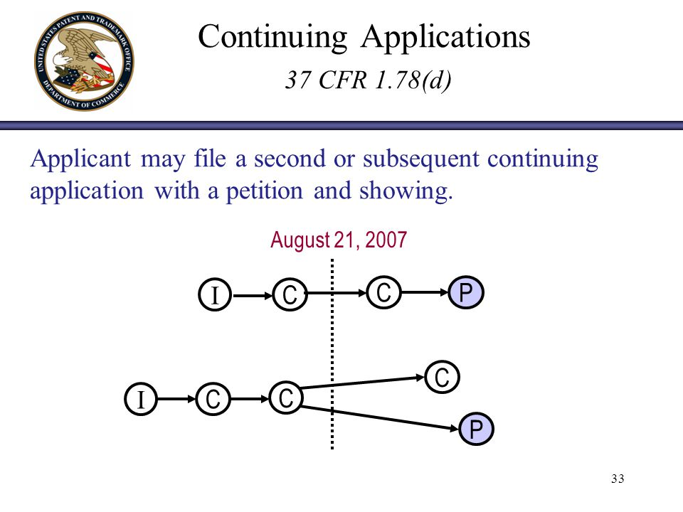 33 Continuing Applications 37 CFR 1.78(d) Applicant may file a second or subsequent continuing application with a petition and showing.