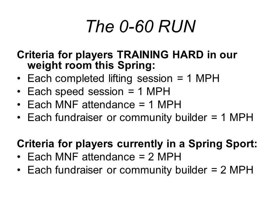 The 0-60 RUN Criteria for players TRAINING HARD in our weight room this Spring: Each completed lifting session = 1 MPH Each speed session = 1 MPH Each MNF attendance = 1 MPH Each fundraiser or community builder = 1 MPH Criteria for players currently in a Spring Sport: Each MNF attendance = 2 MPH Each fundraiser or community builder = 2 MPH