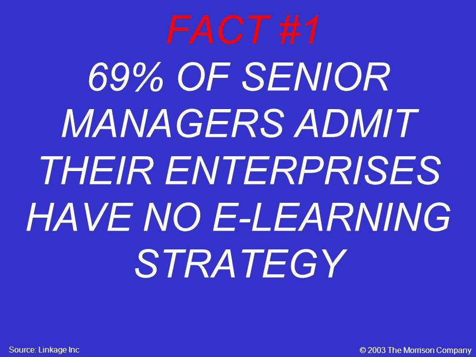 FACT #1 69% OF SENIOR MANAGERS ADMIT THEIR ENTERPRISES HAVE NO E-LEARNING STRATEGY © 2003 The Morrison Company Source: Linkage Inc