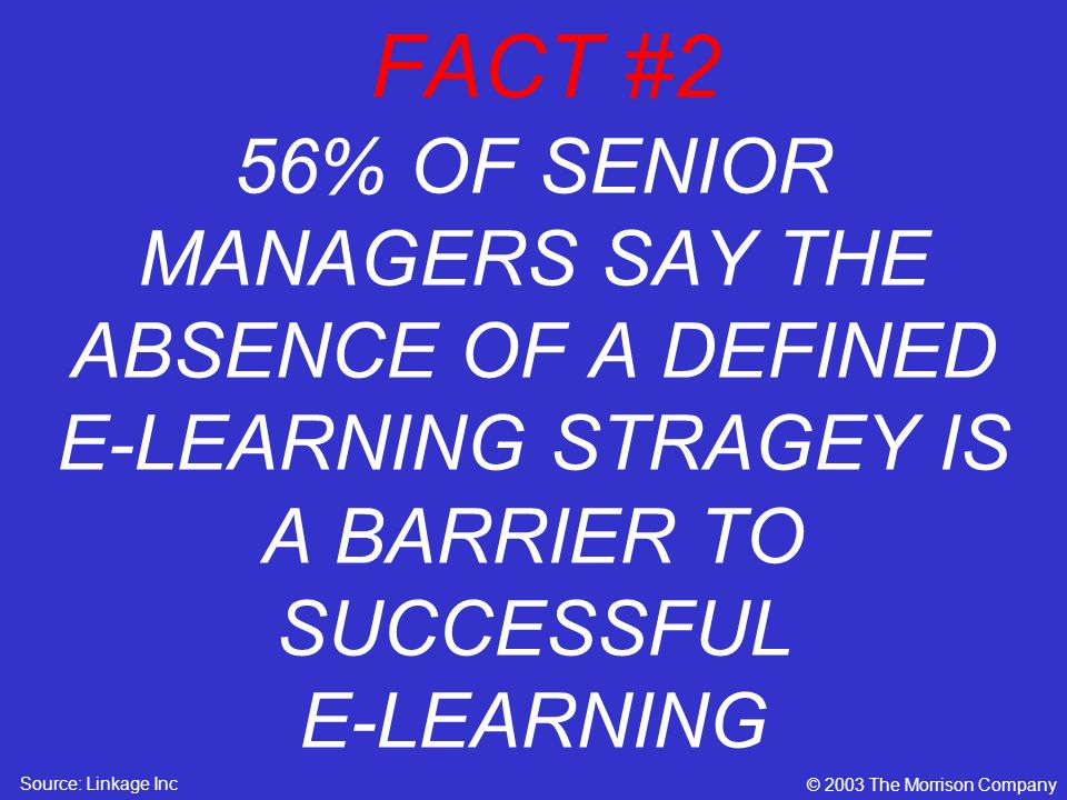 FACT #2 56% OF SENIOR MANAGERS SAY THE ABSENCE OF A DEFINED E-LEARNING STRAGEY IS A BARRIER TO SUCCESSFUL E-LEARNING © 2003 The Morrison Company Source: Linkage Inc