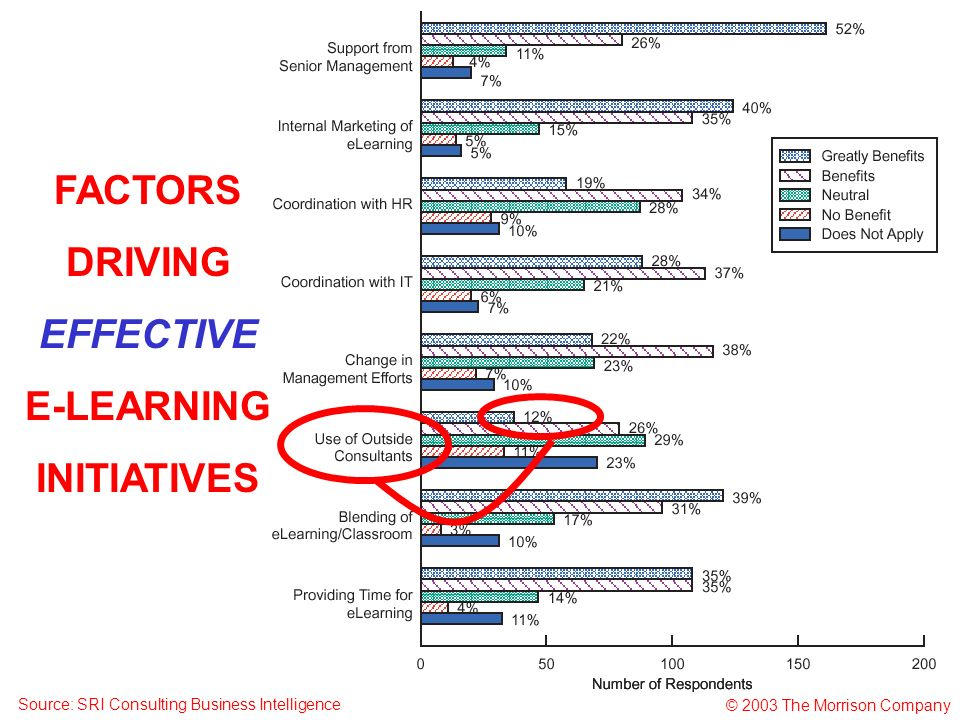 © 2003 The Morrison Company Source: SRI Consulting Business Intelligence FACTORS DRIVING EFFECTIVE E-LEARNING INITIATIVES