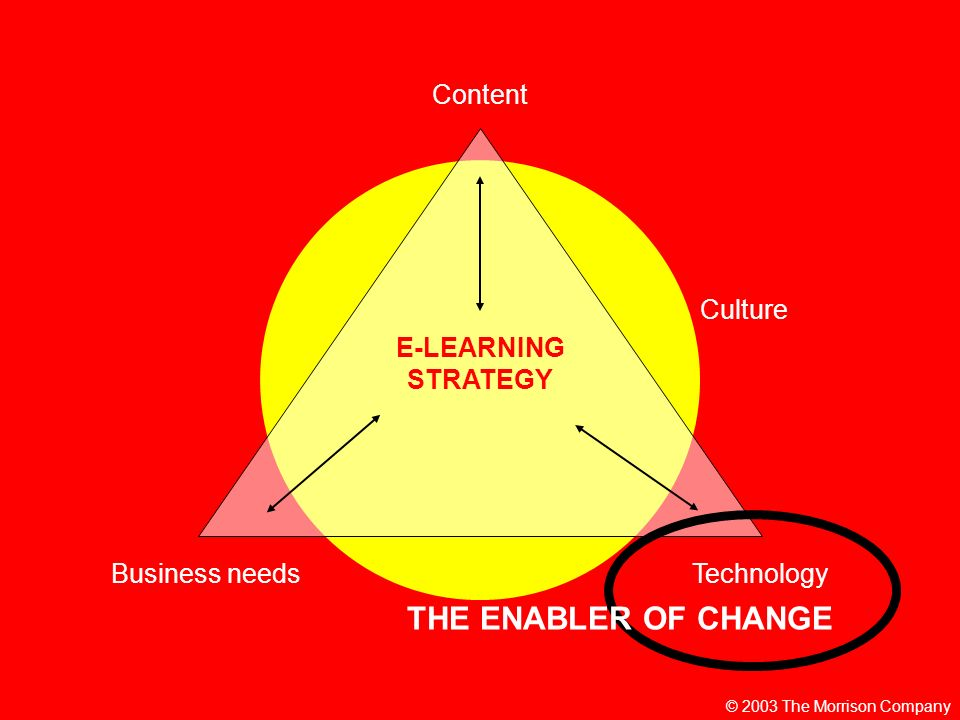 © 2003 The Morrison Company E-LEARNING STRATEGY Content TechnologyBusiness needs Culture THE ENABLER OF CHANGE