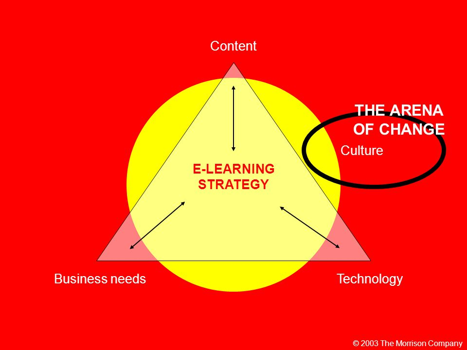 © 2003 The Morrison Company E-LEARNING STRATEGY Content TechnologyBusiness needs Culture THE ARENA OF CHANGE