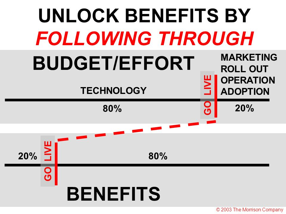 TECHNOLOGY MARKETING ROLL OUT OPERATION ADOPTION 80% 20% BUDGET/EFFORT GO LIVE 20%80% GO LIVE BENEFITS UNLOCK BENEFITS BY FOLLOWING THROUGH © 2003 The Morrison Company