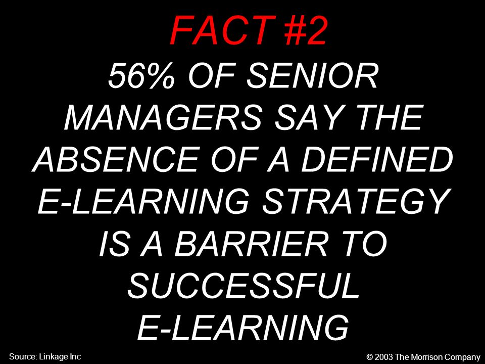 FACT #2 56% OF SENIOR MANAGERS SAY THE ABSENCE OF A DEFINED E-LEARNING STRATEGY IS A BARRIER TO SUCCESSFUL E-LEARNING © 2003 The Morrison Company Source: Linkage Inc