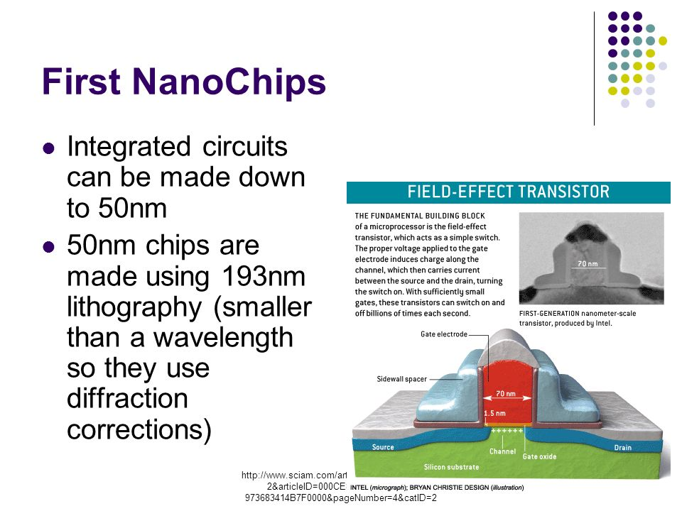 chanID=sa00 2&articleID=000CE8C4-DC B7F0000&pageNumber=4&catID=2 First NanoChips Integrated circuits can be made down to 50nm 50nm chips are made using 193nm lithography (smaller than a wavelength so they use diffraction corrections)