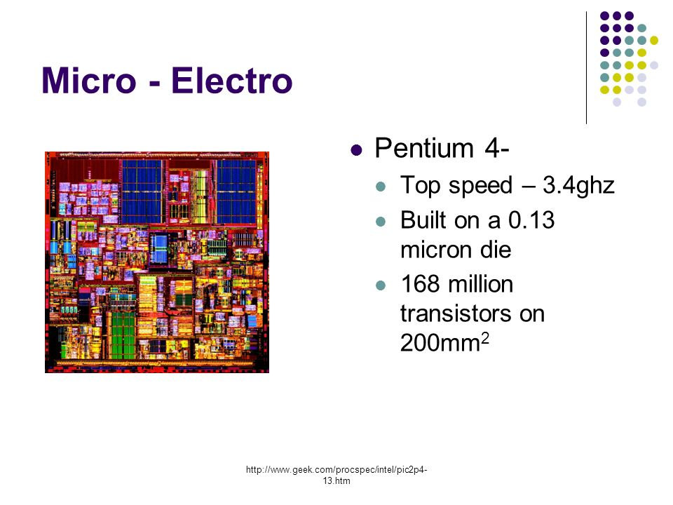 13.htm Micro - Electro Pentium 4- Top speed – 3.4ghz Built on a 0.13 micron die 168 million transistors on 200mm 2