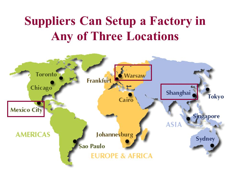 Suppliers Can Setup a Factory in Any of Three Locations