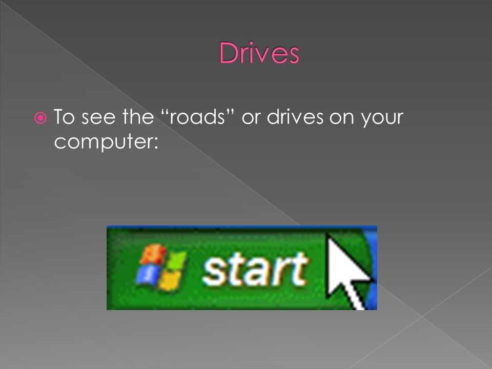 To see the roads or drives on your computer: