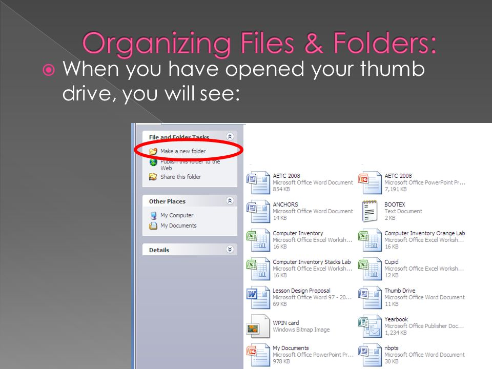 When you have opened your thumb drive, you will see: