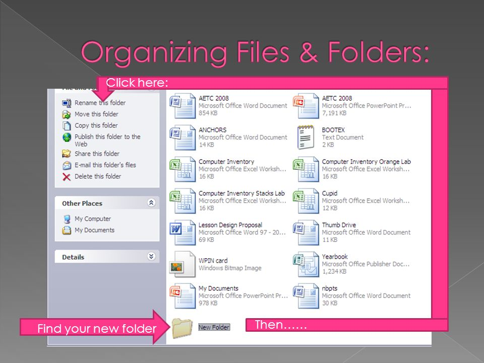 Find your new folder Then…… Click here: