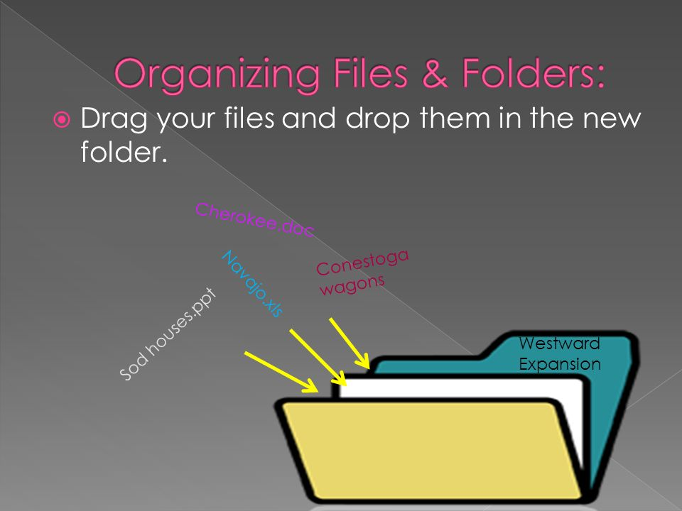 Drag your files and drop them in the new folder.