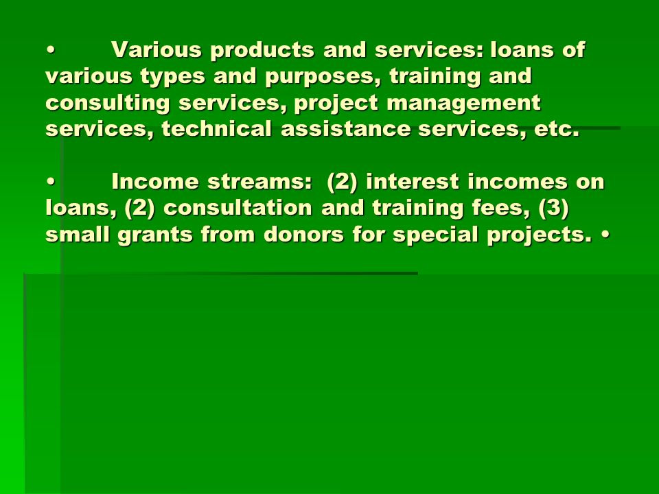 Various products and services: loans of various types and purposes, training and consulting services, project management services, technical assistance services, etc.Income streams: (2) interest incomes on loans, (2) consultation and training fees, (3) small grants from donors for special projects.Various products and services: loans of various types and purposes, training and consulting services, project management services, technical assistance services, etc.Income streams: (2) interest incomes on loans, (2) consultation and training fees, (3) small grants from donors for special projects.