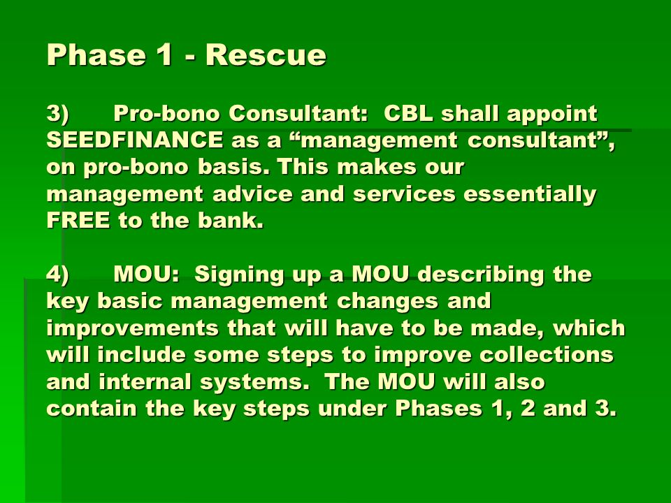 Phase 1 - Rescue 3)Pro-bono Consultant: CBL shall appoint SEEDFINANCE as a management consultant, on pro-bono basis.