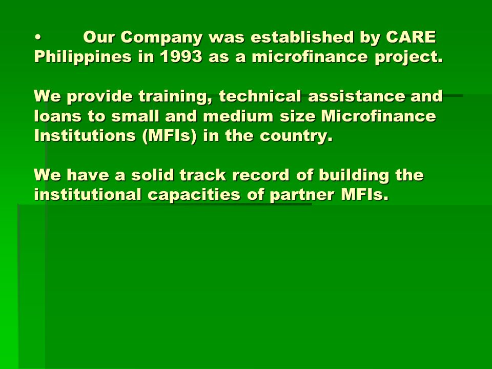 Our Company was established by CARE Philippines in 1993 as a microfinance project.