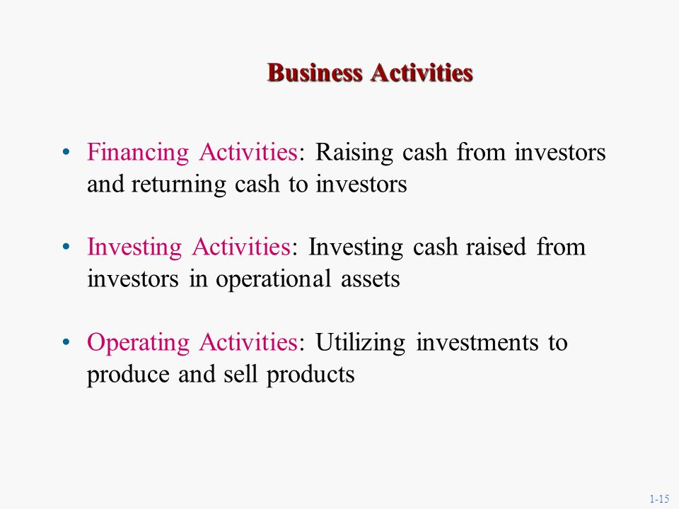 1-15 Business Activities Financing Activities: Raising cash from investors and returning cash to investors Investing Activities: Investing cash raised from investors in operational assets Operating Activities: Utilizing investments to produce and sell products