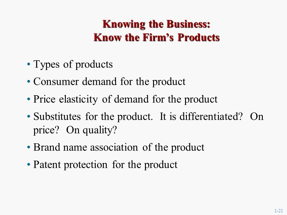 1-21 Knowing the Business: Know the Firms Products Types of products Consumer demand for the product Price elasticity of demand for the product Substitutes for the product.
