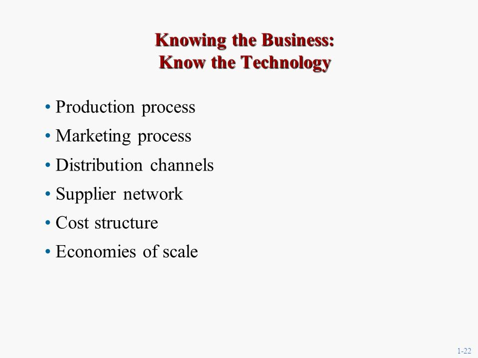 1-22 Knowing the Business: Know the Technology Production process Marketing process Distribution channels Supplier network Cost structure Economies of scale