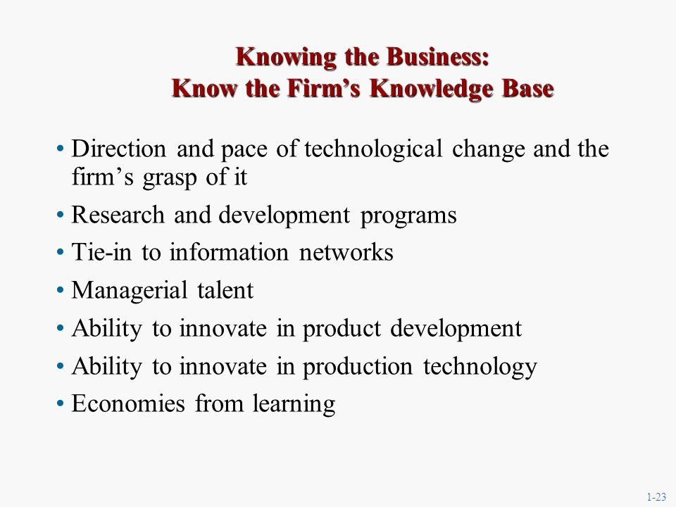 1-23 Knowing the Business: Know the Firms Knowledge Base Direction and pace of technological change and the firms grasp of it Research and development programs Tie-in to information networks Managerial talent Ability to innovate in product development Ability to innovate in production technology Economies from learning