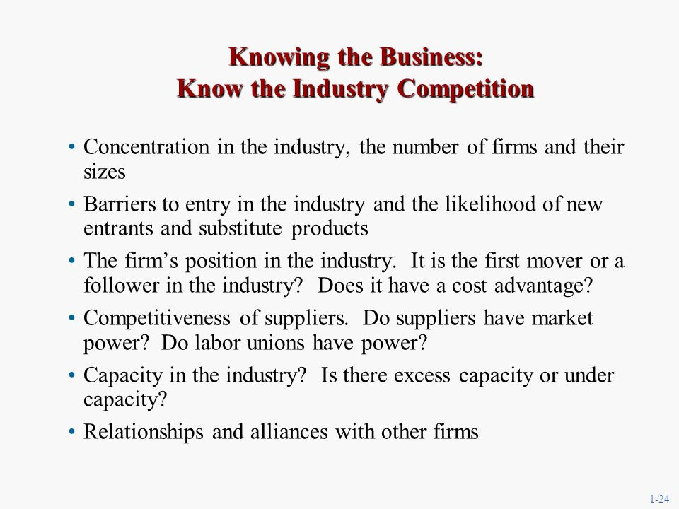 1-24 Knowing the Business: Know the Industry Competition Concentration in the industry, the number of firms and their sizes Barriers to entry in the industry and the likelihood of new entrants and substitute products The firms position in the industry.