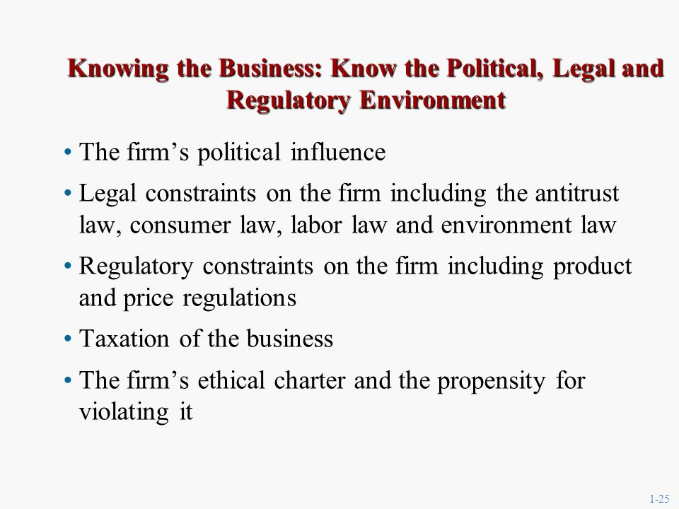 1-25 Knowing the Business: Know the Political, Legal and Regulatory Environment The firms political influence Legal constraints on the firm including the antitrust law, consumer law, labor law and environment law Regulatory constraints on the firm including product and price regulations Taxation of the business The firms ethical charter and the propensity for violating it